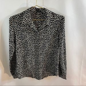 Theory Andrae Silk Leopard Print Blouse